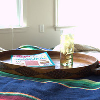 Large Rustic Carved Wood Ottoman Tray, Handmade Oval Wooden Serving Tray with Handles,  Primitive Decorative Wood Coffee Table Tray