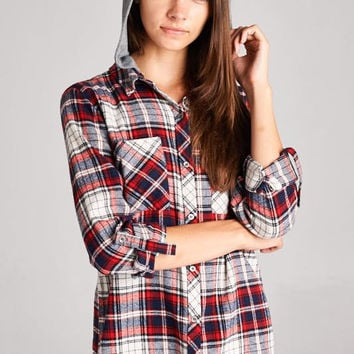Lola Plaid Top - Burgundy
