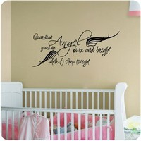 Guardian Angel Pure and Bright..Wall Decal Little Boys or Girls Room Nursery Decal Quote Vinyl Love Large Nice Sticker