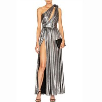 2020 new women's one-shoulder sexy lace-up side slit mid-length dress