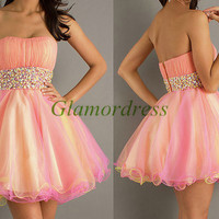 tulle and satin prom dress with sequins and crystals cheap strapless homecoming gowns hot short simple dress for party