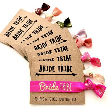 Pack of 10 Bride Tribe Bachelorette Party Hair Tie Favor | To have and to hold your hair back