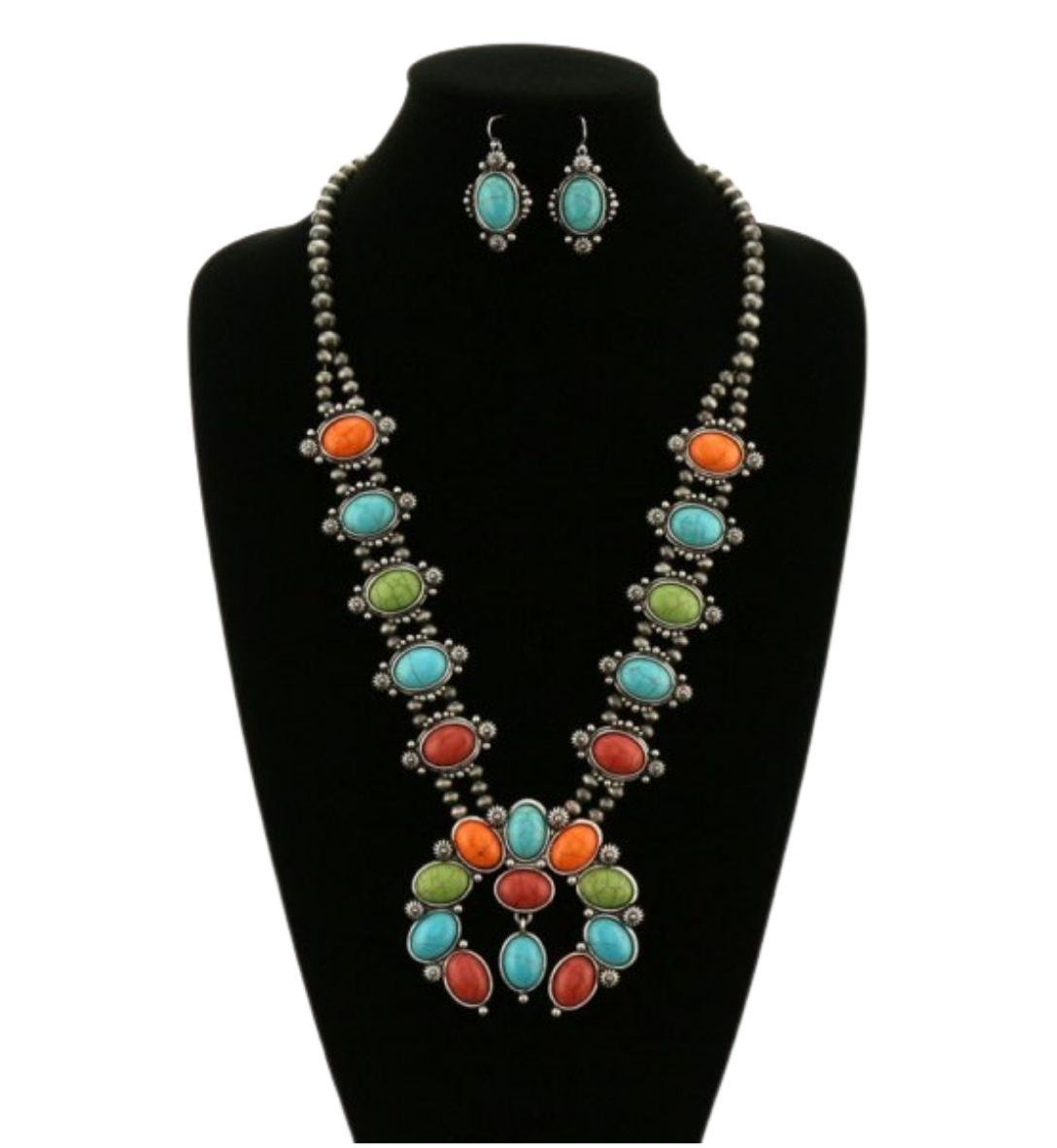 Image of Colorful Squash Blossom Stone Necklace