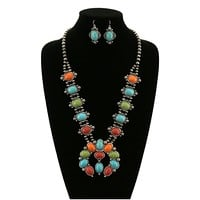 Colorful Squash Blossom Stone Necklace