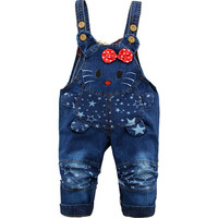 Kids Girls Denim Overalls Hello Kitty Fall Spring Trousers Toddler Jeans Cartoon Baby Girl Clothes Infants Girl Pants