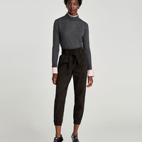 TROUSERS WITH GATHERED WAIST AND BELT