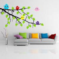 Vinyl Wall Decal Tree Branch with leaves and Five Cute Colorful Birds / Happy Nature Forest Creature Art Sticker + Free Random Decal Gift!