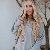 Make It Easy Waffle Knit Top - Heather Gray