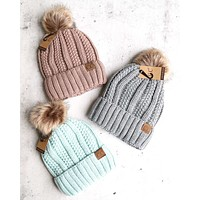 Knitted Two Tone C.C. Beanies With Pom Pom And Fuzzy Lining - More Colors