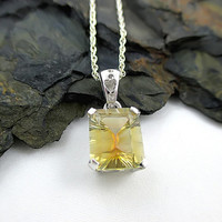 Yellow Topaz Necklace, Faceted Rainbow Topaz Pendant, 925 Sterling Silver Gemstone Jewelry
