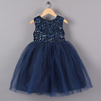 Navy Blue flower girl dress, Princess Girl Party Dresses, Flower Sequined Tutu style Wedding Dress , Flower Girl Dress