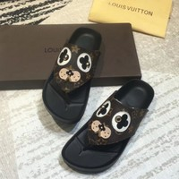 Louis Vuitton LV Casual Fashion Floral Print Sandal Slipper Shoes