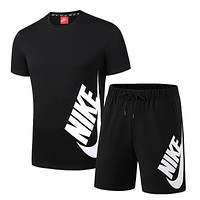 NIKE Summer Classic Men Casual Short Sleeve Top Sport Gym Set Two-Piece Sportswear Black