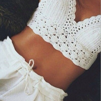 Sexy Women Girl Handmade Swimwear Crochet Beach Swimsuit Cover Up Knitted Bikini Bra