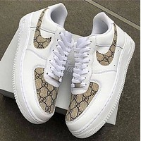 Gucci x NIKE Air Force 1 Women Men Stylish Running Sport Shoes Sneakers