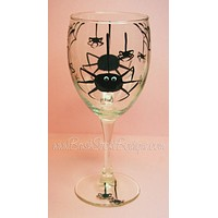 Hand Painted Wine Glass - Halloween Spiders - Original Designs by Cathy Kraemer