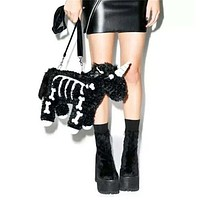 Plush Skeleton Unicorn Shoulder Bag