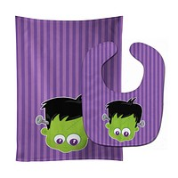 Halloween Frankenstein Baby Bib & Burp Cloth BB8788STBU