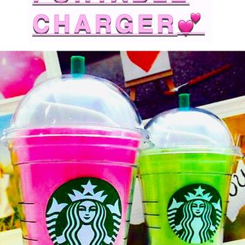 Starbucks Frappachino iPhone Pink Power Bank Charger
