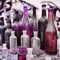 Vintage Glass Bottles Photograph – Blush Pink and Purple – Romantic – Pacific Northwest – Wall Art for Home & Office Decor – fpoe » Craftori