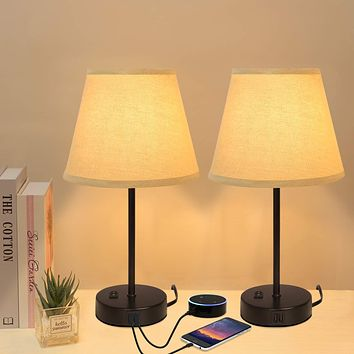 Innqoo Dual USB Table Lamp, Bedside Lamps Set of 2 with Fabric Shade, Small Nightstand Lamps for Bedroom, Living Room, Home, Office, College Dorm Dual Usb Port Table Lamp