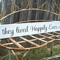 and they lived Happily Ever After -One sided 30inches - wedding sign, Disney Wedding Sign, wedding decor, bridal shower decor