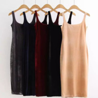 FREE SHIPPING Autumn outfit new cultivate one's morality velvet vest dress sleeveless dresses