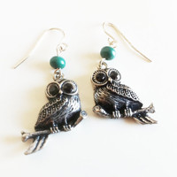 Silver and Teal Owl Earrings by EridaneasBoutique on Etsy