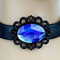 Blue Stone with Black Victorian Setting Leather Choker Gothic Necklace