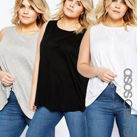 ASOS CURVE Swing Vest with Drape 3 PACK