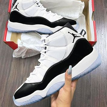 "Air Jordan 11 ""Concord"" Fashionable Men Women Sport Shoes Basketball Sneakers"