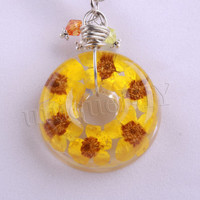 Yellow Cherry Blossom Pendant Necklace - Real flowers in Resin - Pressed Flower Jewelry, Resin Necklace, Wire Wrapped Pendant, Donut Pendant