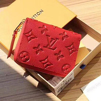 LV Louis Vuitton Popular Women Pure Color Leather Zipper Wallet Purse
