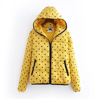 Polkadot Print Hooded Winter Rain Jacket