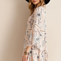 Carlie Blush Floral Tiered Dress