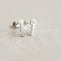925 Sterling Silver earrings,cat and fish earrings,tiny brushed silver earring studs