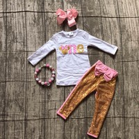 baby girls boutique clothing  children one years old birthday clothes girls party clothes with sequin sets pants with accessorie