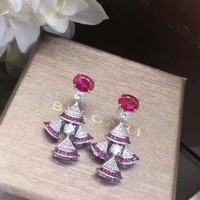 2018 New Bvlgari Red blue gemstone colourful brick and stone high-end fashion jewelry S925 Sterling Silver Earring cartilage hoop stud drop
