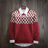 Fashion Men's Comfortable Geometric Knitted Sweater
