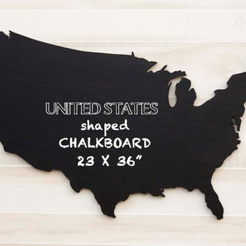 "United States US state shape wood cutout sign wall art Chalkboard Message Board. Oversized 23"" x 36"" College Country Chic Housewarming Decor"