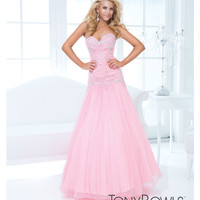 Tony Bowls 2014 Prom Dresses - Light Coral Two-Tone Chiffon Strapless Prom Gown