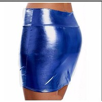 New Sexy Micro Skirt Latex Faux Leather Skirt Tight Hip Slim Low Waist Pencil Package Hip Skirt