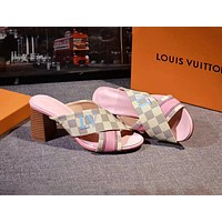 LV Louis Vuitton tide brand female letter Logo cross with thick heel high heel slippers #1