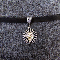 Sol Sun Choker Celestial hipster hippie retro goth 90s soft grunge ribbon lace necklace