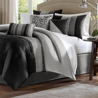 Queen Size 7 Piece Comforter Set With Black/Grey Stripes In Jacquard
