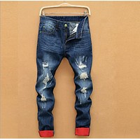 2015 fashion ripped Straight jeans men, slim printed jeans Men's Tide brand hole jeans hip hop swag pants casual mens Size 28-40