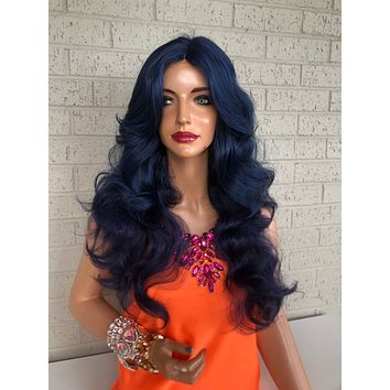 Navy Blue Hair Wig with long layers 419