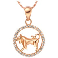 18k Gold Plated Cubic Zirconia Taurus Pendant Necklace [7279210311]