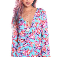 FLORAL PRINT LONG SLEEVE WRAP ROMPER - TURQUOISE