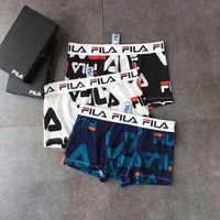 FILA tide brand men's classic print logo boxer briefs three-piece suit